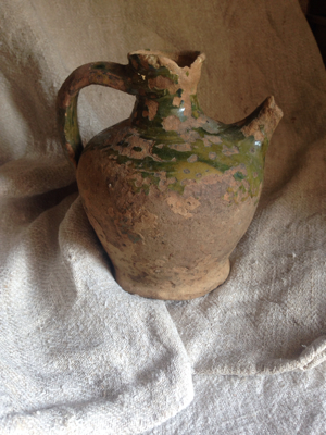 1800 Green Pottery Pitcher