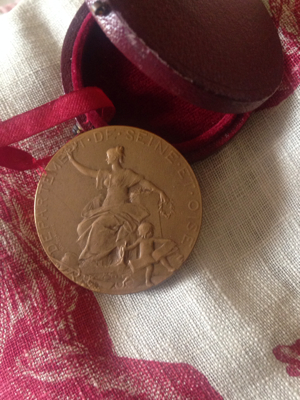 French Medal in Round Leather Box
