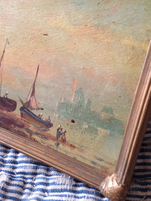Boating Oil Painting on Wood