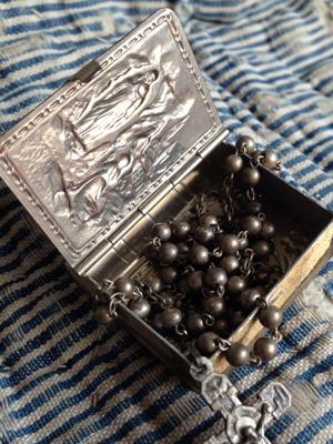 Pocket Rosary Holder and Silver Bead Rosary