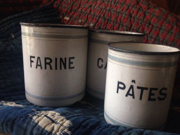 Set of Three Enamelware Cannisters
