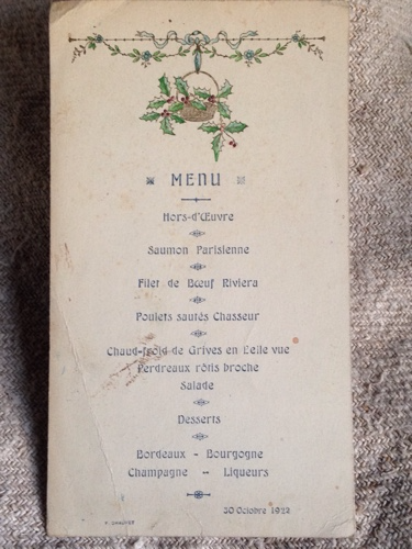 French Menu 1900s