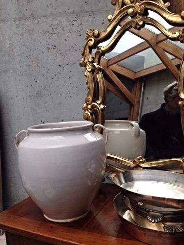 confit pot French white, brocante