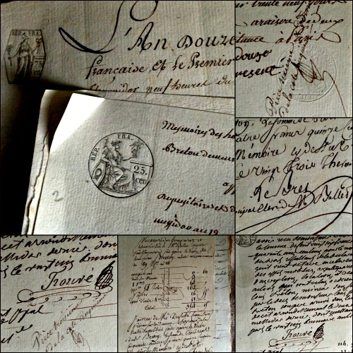 French 1700s Antiques Handwriting Papers