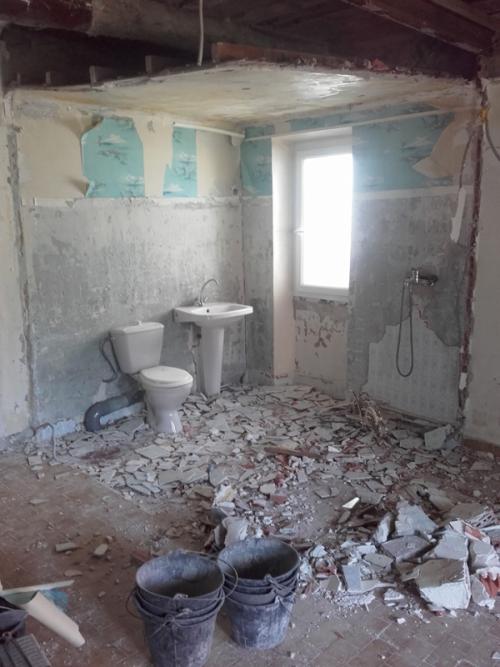Demolished bathroom