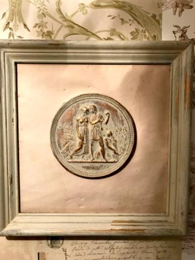 Vintage medallion framed