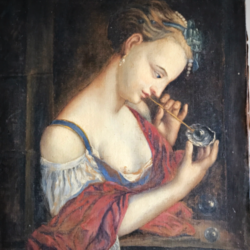 French antique painting, Girl blowing bubbles from a shell, Corey Amaro, Brocante, Cassis, Home Decor