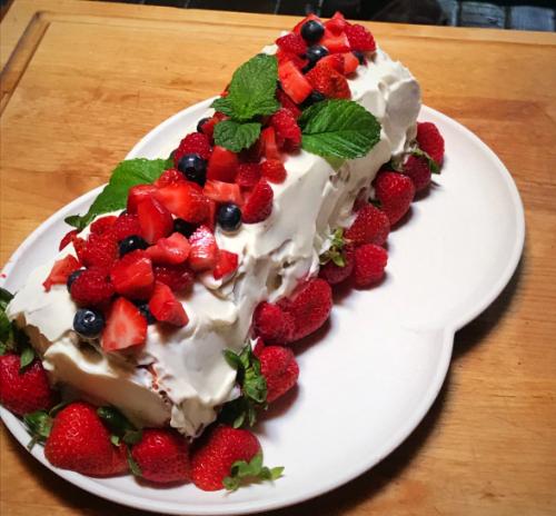 Three Berry Angel Food Roll Cake