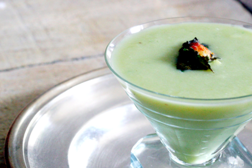 cucumber gazpacho with walnut mint pesto