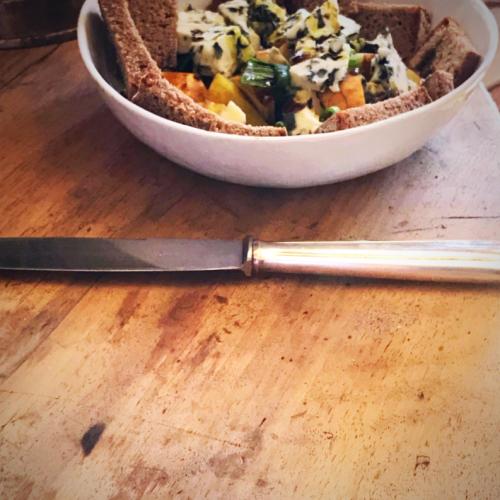 pear, pumpkin oil blue cheese salad