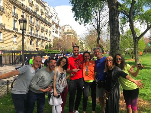 the cheerleaders with the marathoner