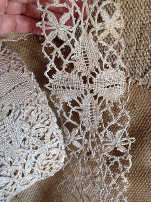 Large Roll of Antique Linen Lace