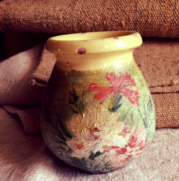 Provencal Yellow Pottery Painted Flowers