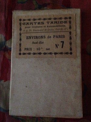 French Antique Canvas Backed Map of the South East Section and Countryside of Paris