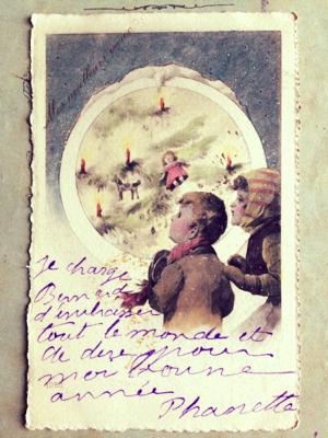 French Christmas Postcard, brocante corey amaro