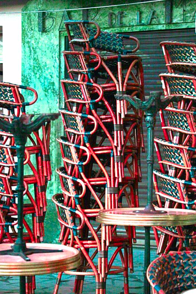 Stacked-chairs, winter in cassis
