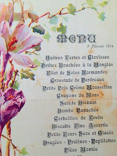 French Menu Floral