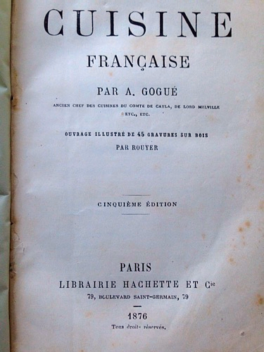 French antique cookbook