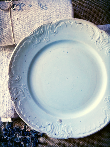 French White Embossed Plate