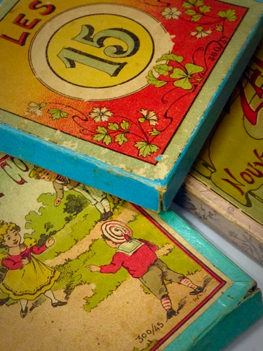 French Brocante, old  toy boxes