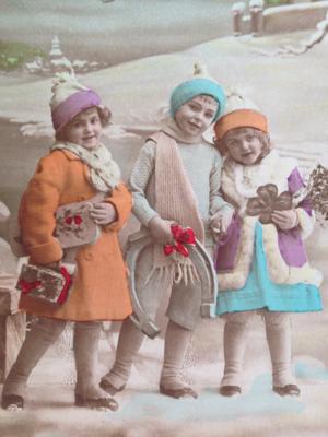 Christmas postcard brocante france
