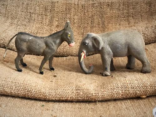 An elephant and a donkey