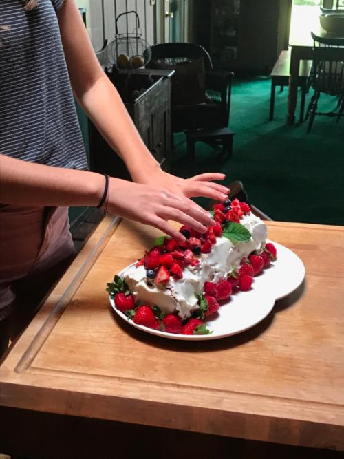 Three Berry Angel Food Cake
