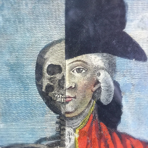 French engraving half man half skelton 1760, corey amaro, buying trips in France, antiques, the French Muse