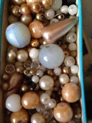 French Brocante: Box of Glass Beads