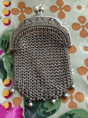 French Brocante Silver Coin Purse
