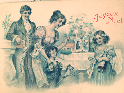Old French Christmas Postcard, corey amaro brocante collection