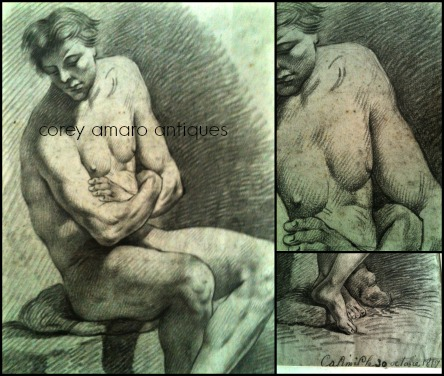 Nude man sitting