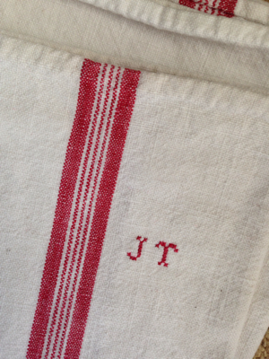 French Antique Set of 2 Dish Towels