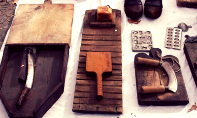 French Brocante Corey Amaro, wooden carving blocks
