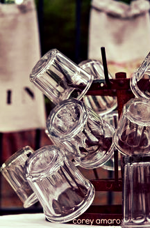 French bottle drying rack with jam jars