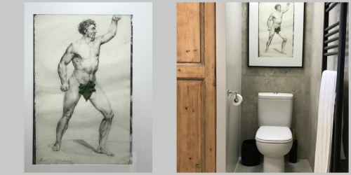 The naked man in the bathroom