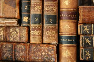 antique leather bond books